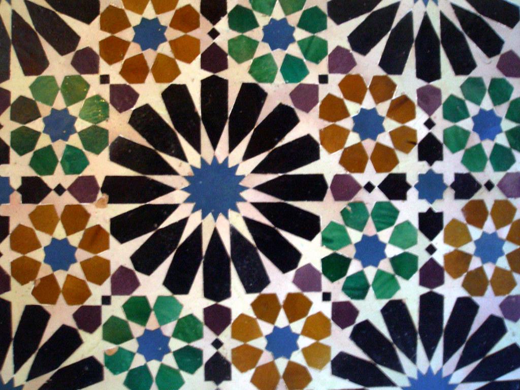 Azulejos geometricos en la Alhambra  Granada  Paco