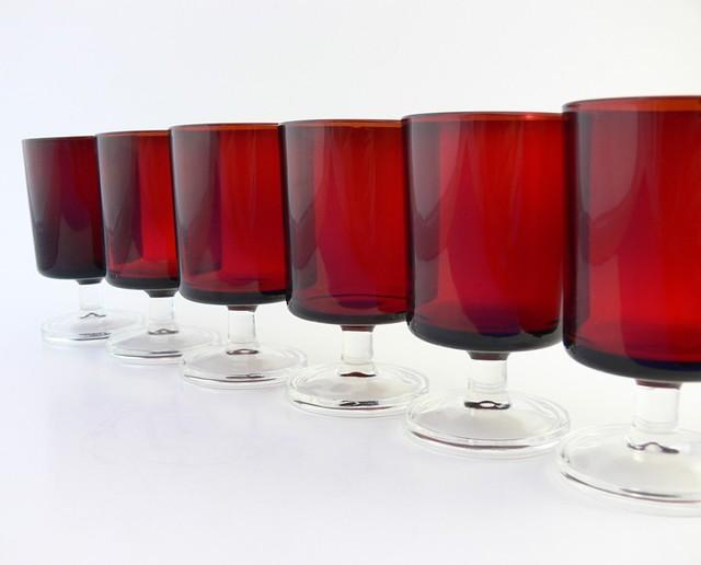 Set of 6  Wine Glasses  Luminarc Vintage Ruby Red Cavali