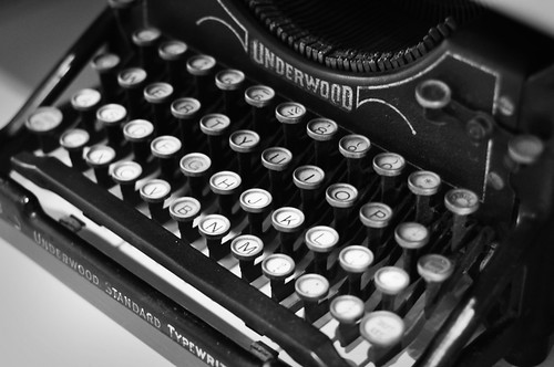 Bookshelf Underwood Typewriter Black and White