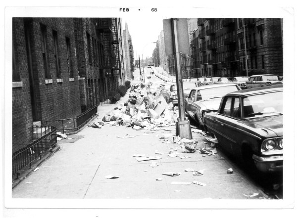 Litter is strewn all over Anderson Avenue, in the Bronx of New York City, during the great garbage strike of 1968. (Photo credit:  Dennis Harper via Flickr, via untappedcities.com)