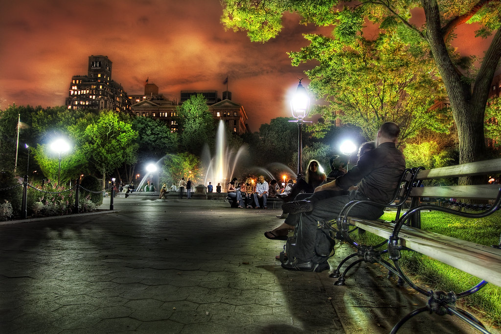 Washington Square Park At Night Greenwich Village Nyc