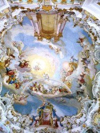 Wieskirche (white church) ceiling - painting of the door t ...