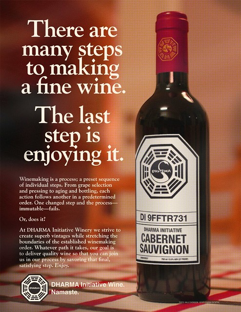 1970 DHARMA Initiative Wine ad  DHARMA Wine ad from the