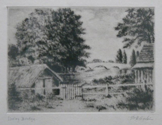 Drypoint etching by William Henry Corbin of Ibsley Bridge