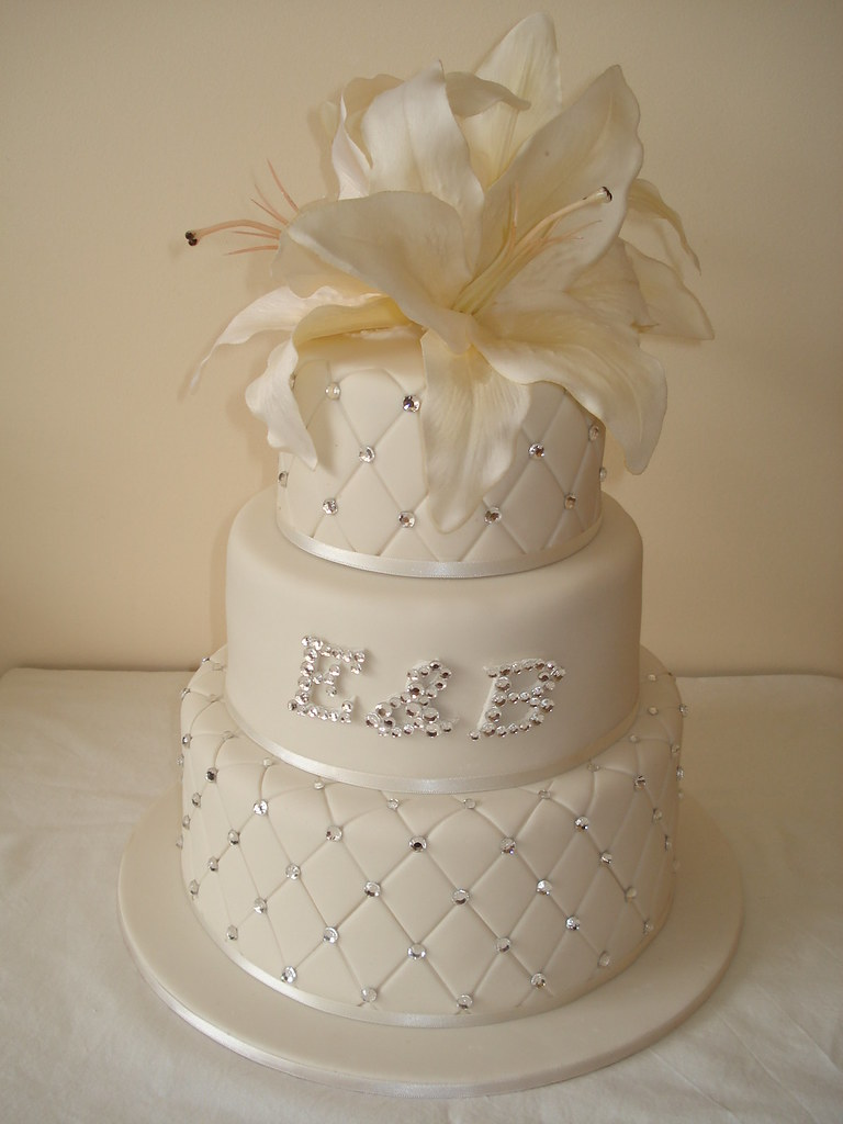 3 tier quilted wedding cake  Lots of bling on this one the  Flickr