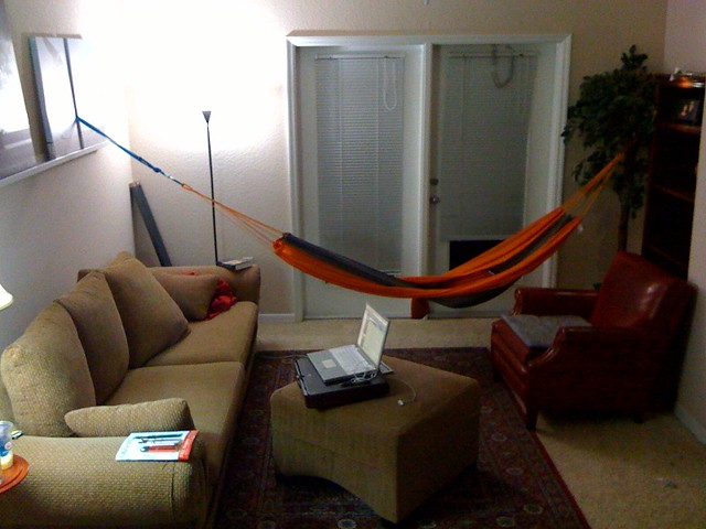 Living room hammock  My best piece of furniture so far I