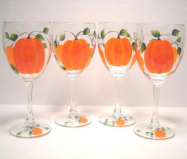HANDPAINTED PUMPKIN WINE GLASSES FALL HARVEST  FALL