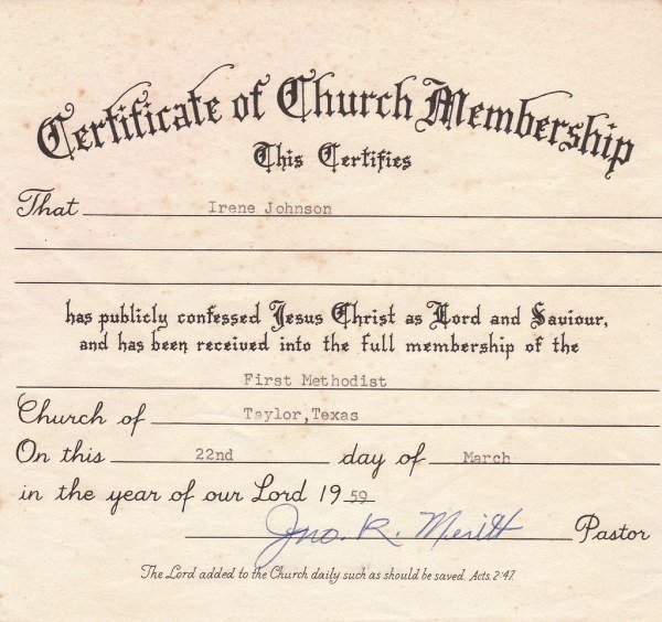 My mother39s Certificate of Church Membership 1959