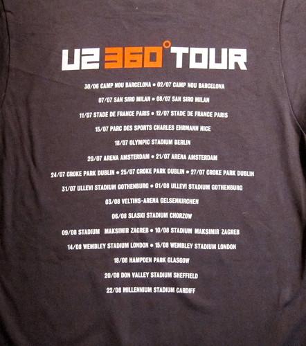 U2 360 Tour TShirt back  U2 360 Tour official tshirt   Flickr