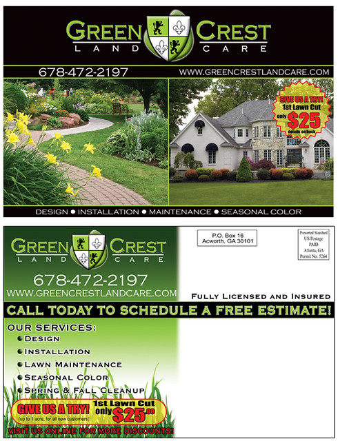 lawn care and landscaping postcard