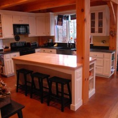 Cherry Wood Kitchen Island Faucet With Side Spray Post & Beam: | White Beadboard ...