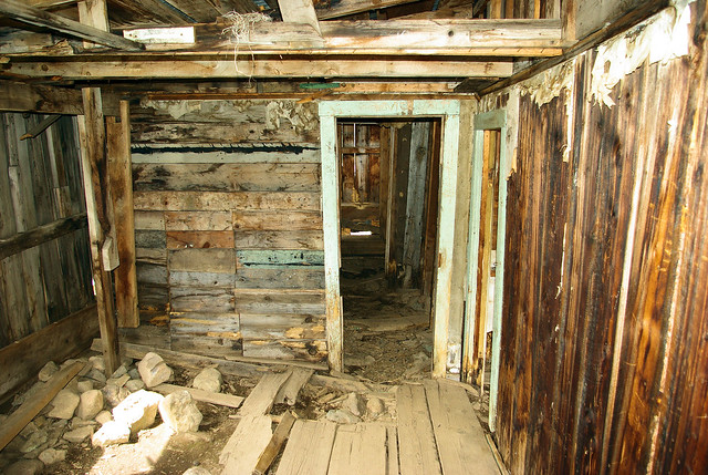 Interior of abandoned dwelling, Animas Forks ghost town, Colorado, September 8, 2009