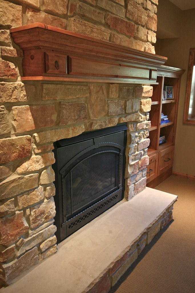 Fireplace  A 2 thick limestone hearth anchors the fireplac  Flickr