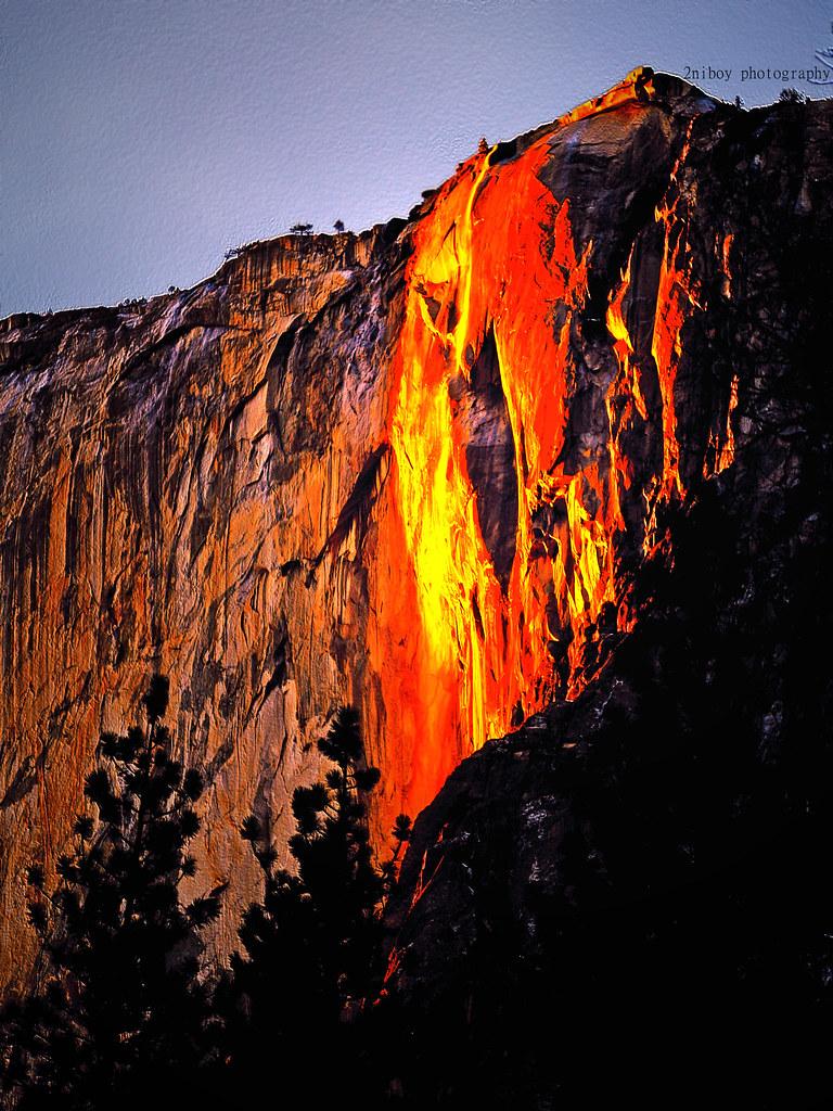 Fall The Sun Wallpaper Fire Falls Yosemite National Park California The