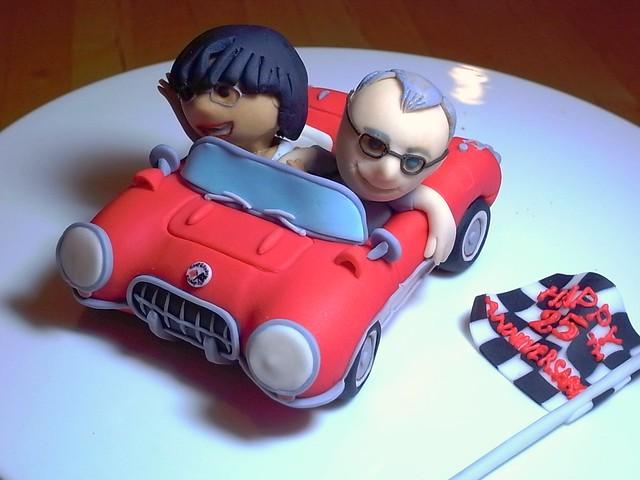 Fondant Corvette cake topper  Fondant topper for 25th