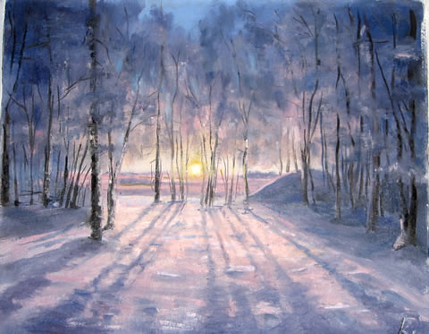 winter sunrise painting  painting oil on canvas 2007