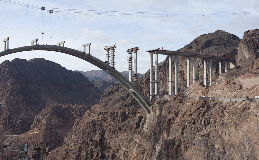 Nevada Side Of Hoover Dam Bridge Construction Of The
