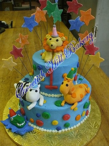Wild Animals Birthday Cake 6 And 10 Inch Cakes With