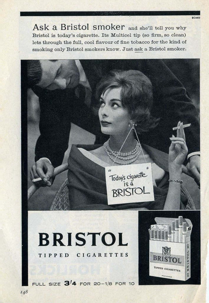 Bristol Tipped Cigarettes advert early 1960s  34 for 20