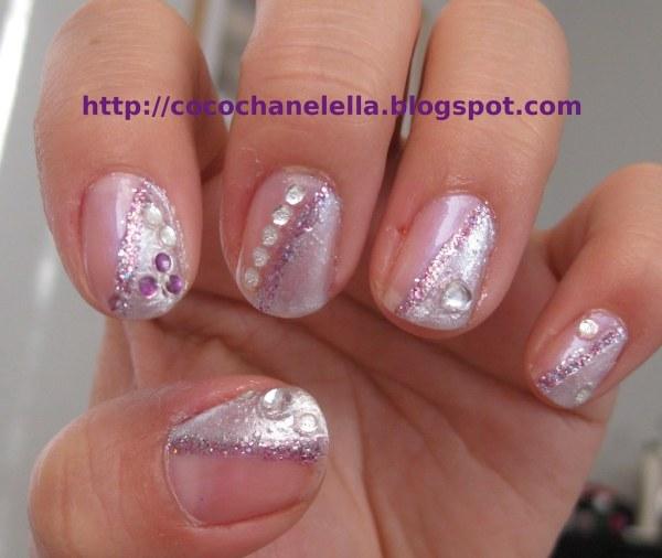 Nail Art - Silver Metallic Purple Glitter Rhinestone Nai