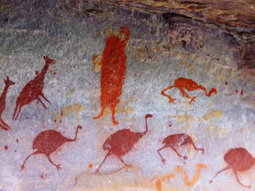 Pinturas rupestres  Parte de um painel de pinturas