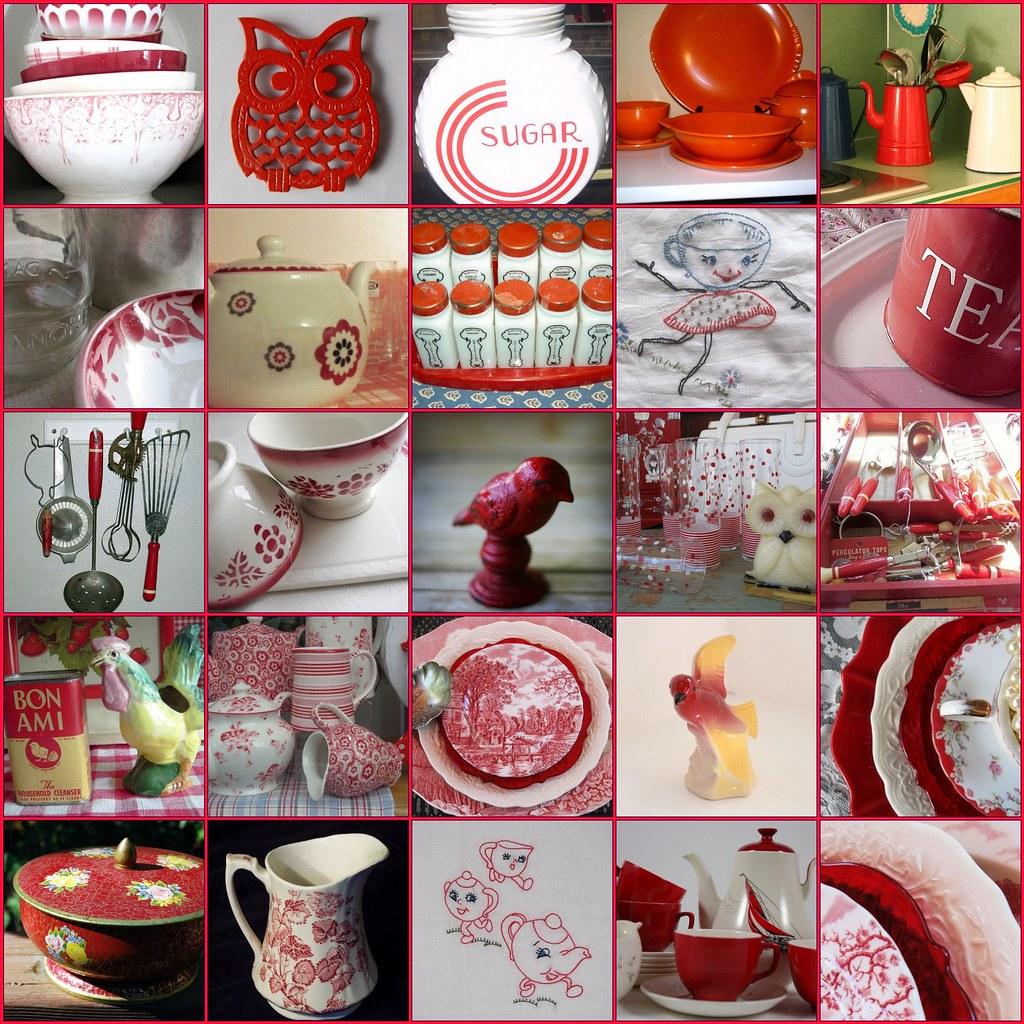 Vintage Red  White Kitchen FUN   Thank you to all the
