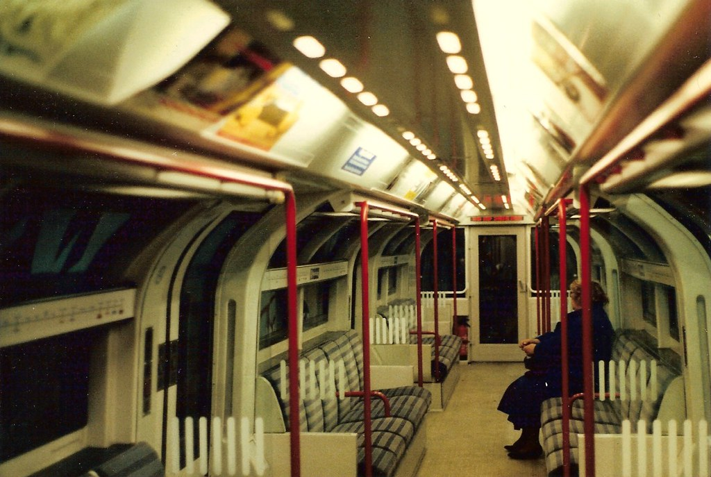 1986 Tube Stock  Interior of red train  Interior view of