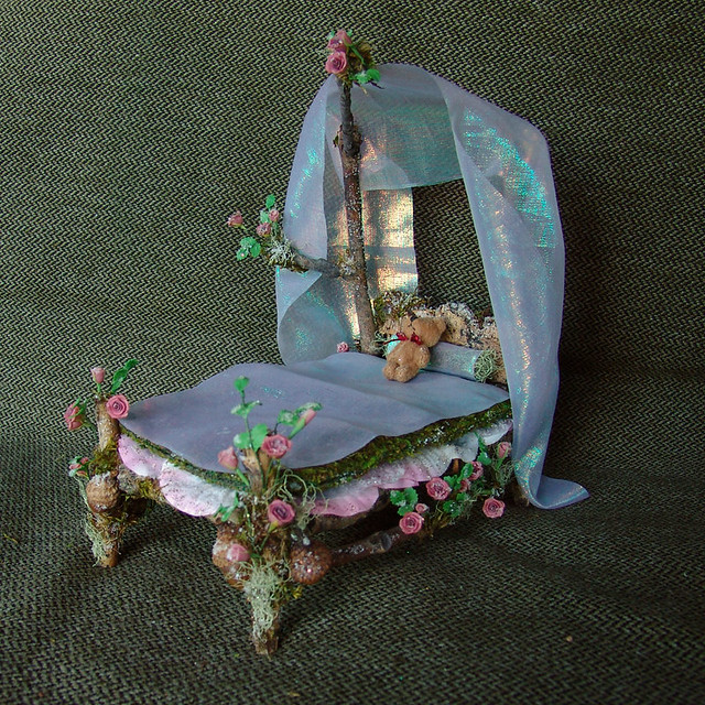Miniature Fairy Bed with Roses  This little fairy bed