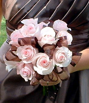 ribbons and rose bridal bouquet in pink and brown  Light