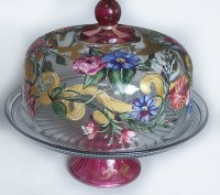 Domed Cake Plate | Handpainted Cake plate, with dome ...