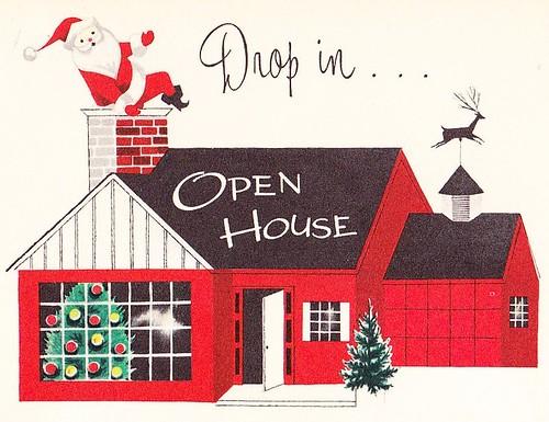 Christmas Open House Invite 1950s Come Through The Door