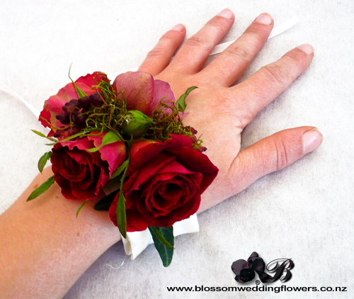 Red Rose Berry Wrist Corsage Wrist Corsage Using Deep