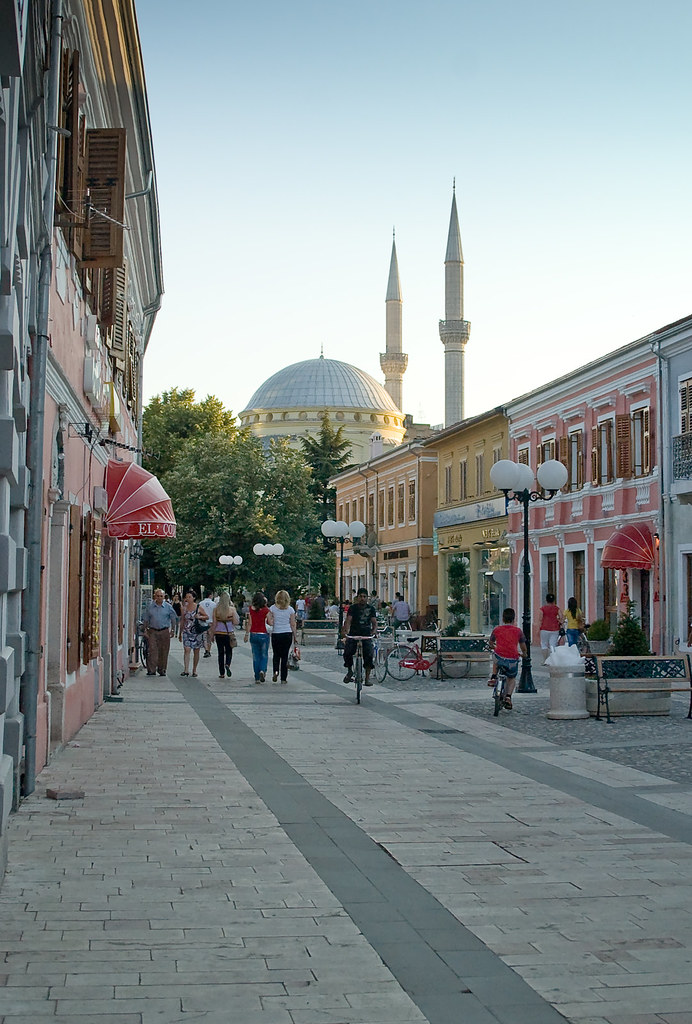 piazza pedonale in shkoder Albania  A newish mosque