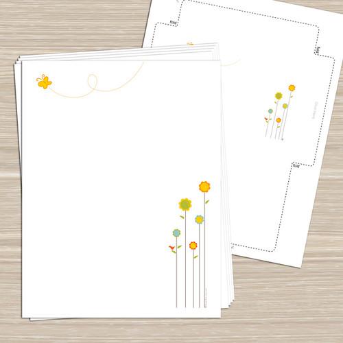 Spring Flowers  Printable Stationery Notecards TagsSti