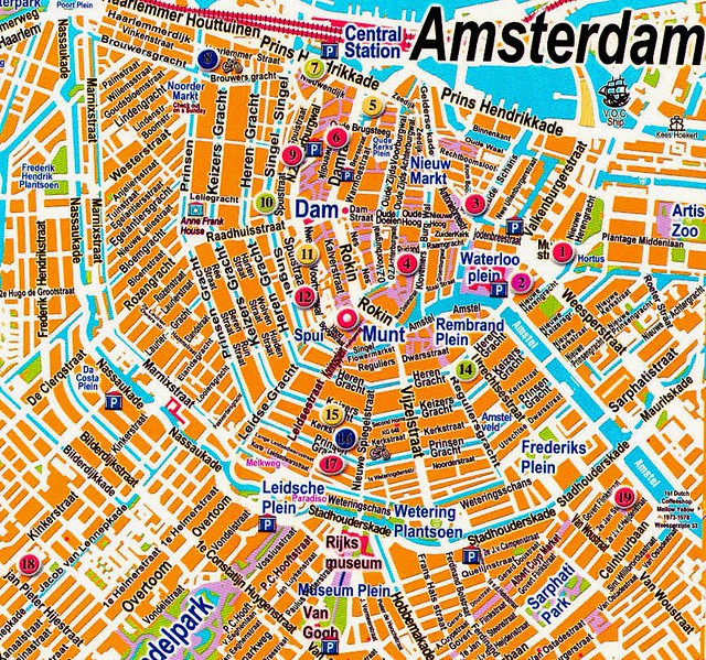 1 Amsterdam Map Great map of Centrum from off the