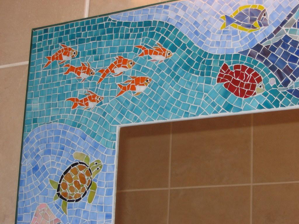 bathroom mosaic mirror Sea Life  Large bathroom mosaic
