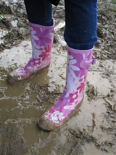 Pink wellies and squelchy mud  Kate is glad she bought