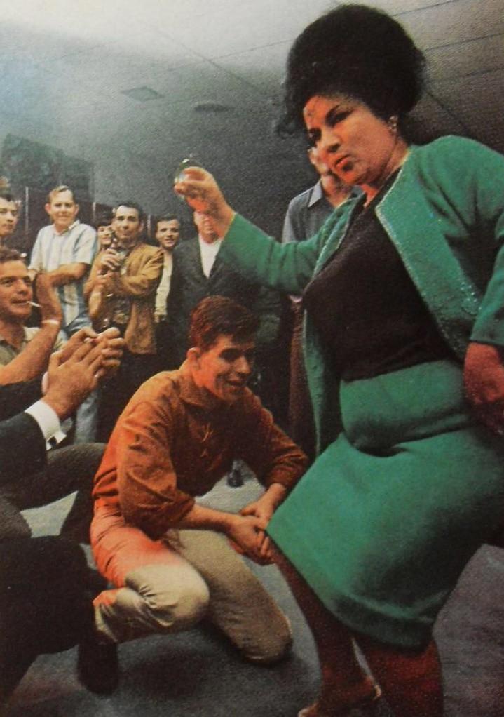 1960s Heavyset Woman Bouffant Hair Dancing Party Men Smoki