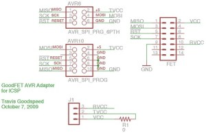 GFAVR10 AVR Adapter | This is the schematic diagram for a