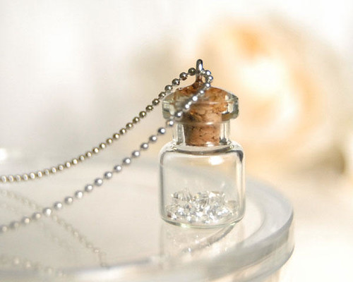 Bits of Snow  Necklace Miniature bottle with snow crysta