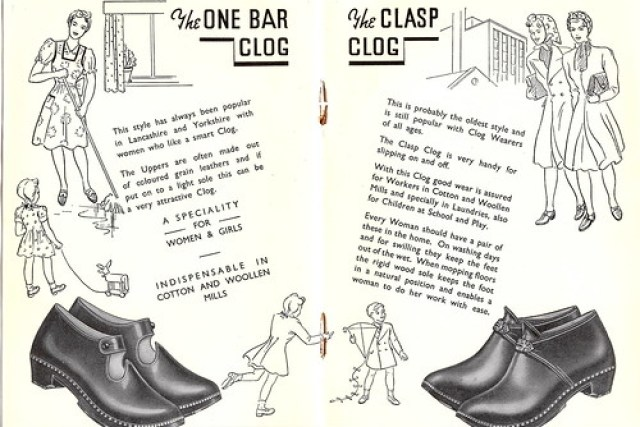 Clogs - an advertising brochure from the 1930s - the One Bar Clog and the Clasp Clog