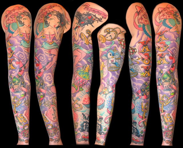 Girlie Full sleeve Arm Tattoo This is the wifes arm