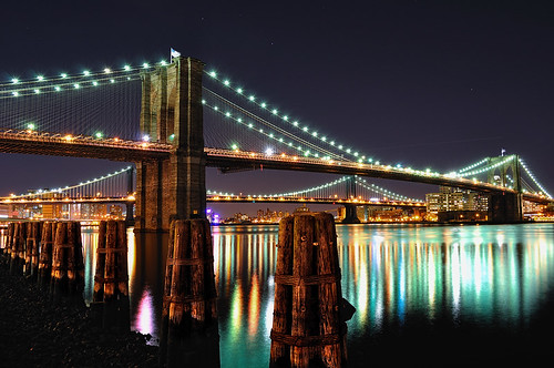 Brooklyn Bridge and Manhattan Bridge at Night NYC  Flickr