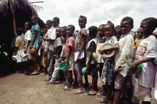 Refugees in Liberia  Children line up for their food in a r  Flickr