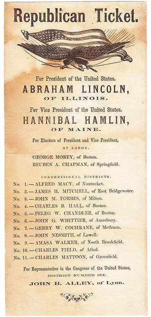 Republican Ballot From Massachusetts For The 1860 Presiden