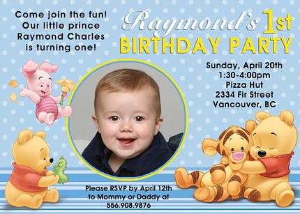 Winnie The Pooh Custom Birthday Invitation Artfire
