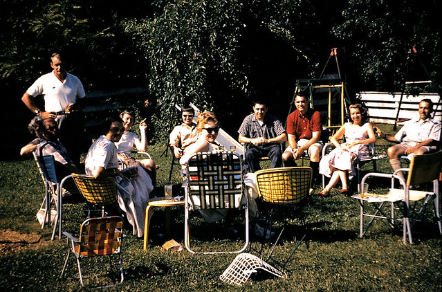 1958 men women barbecue picnic lawn chairs smoking outdoor