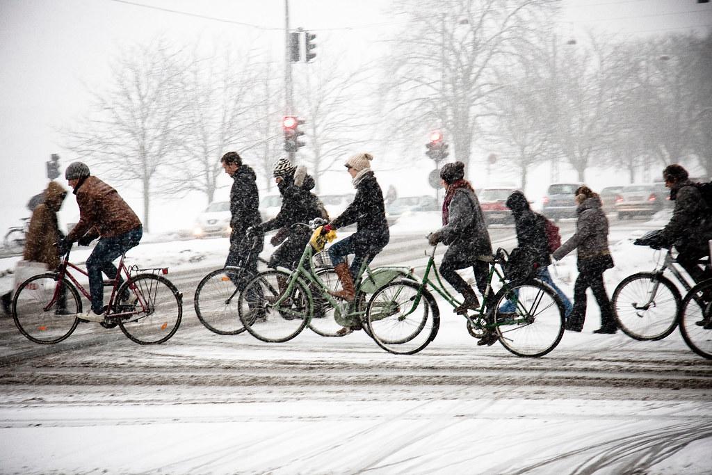 Bicycle Rush Hour Copenhagen Winter Photo Mikael