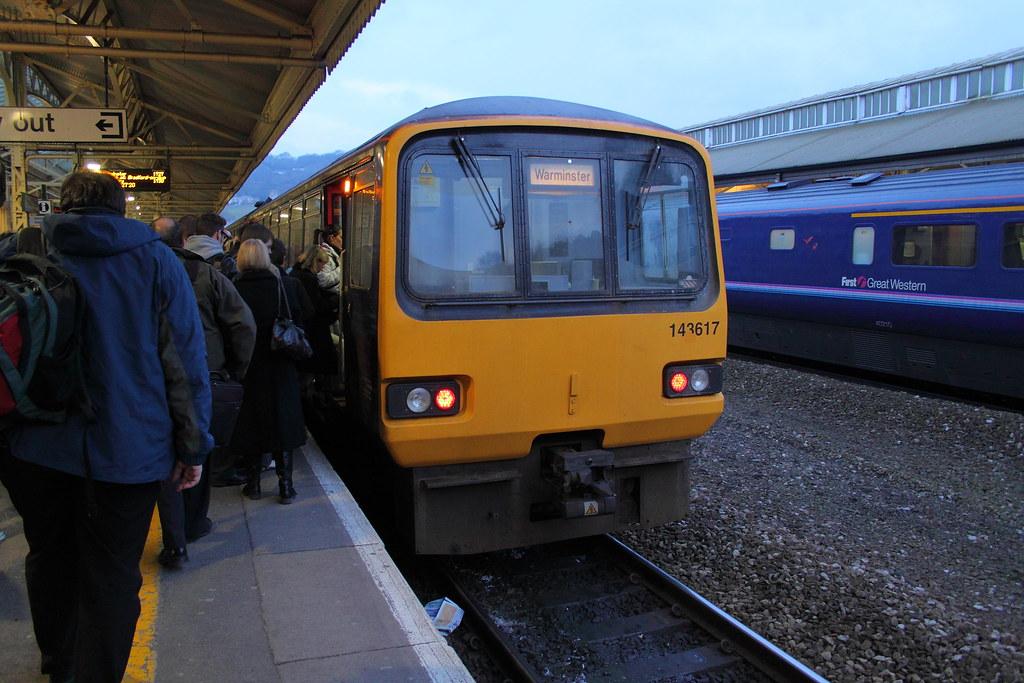 All aboard the Warminster train Bath Spa Station  the