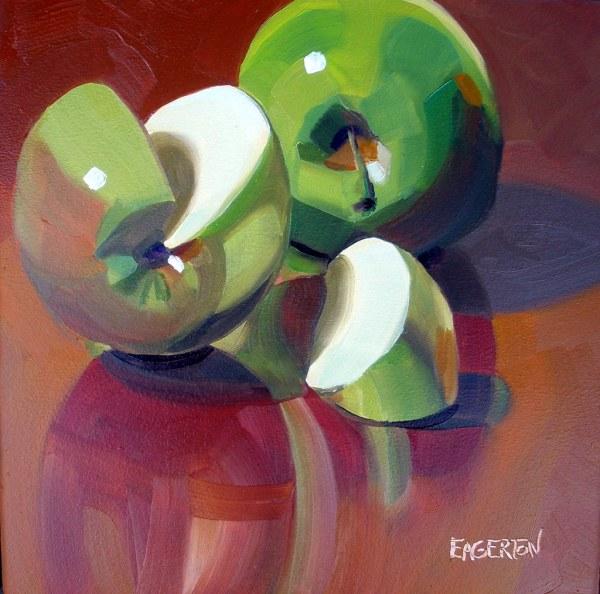 """green Apple Slice"" Sold Life. Oil Panel 10x10"